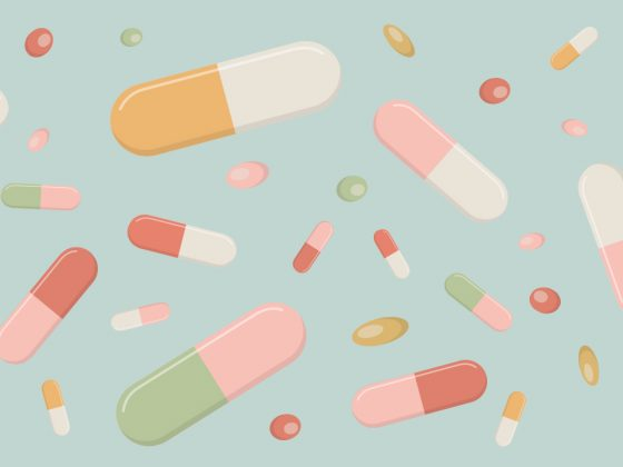 Imagem de destaque com ilustração com comprimidos de vitaminas e suplementos