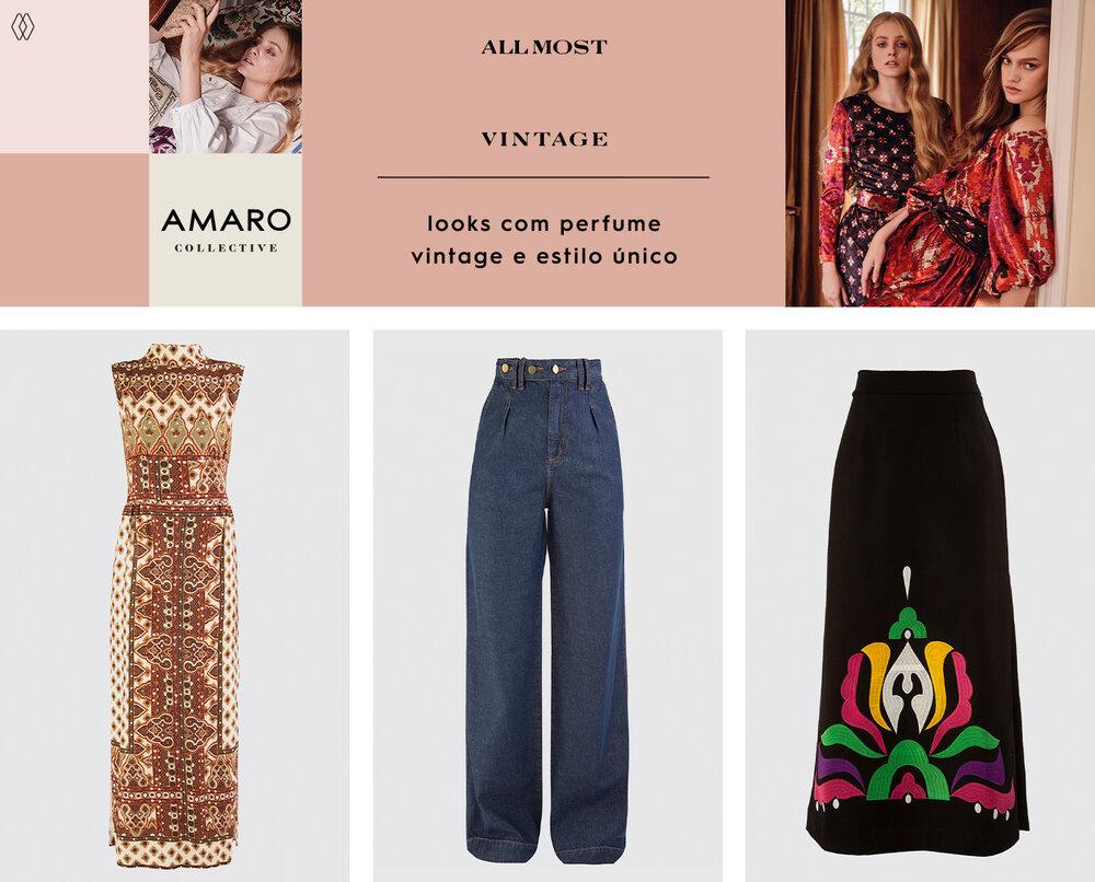 PRODUTOS:  Allmost Vintage vestido paisley ,  Allmost Vintage calça jeans navarro ,  Allmost Vintage saia navarro.