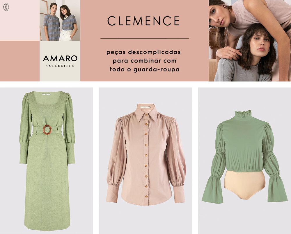 PRODUTOS:  Clemence vestido midi sabres ,  Clemence camisa franzidos marselha ,  Clemence body com babado na gola.