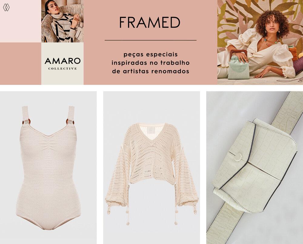 PRODUTOS:  Framed maiô mamelles ,  Framed tricot cropped bonlier ,  Framed pochete smith.