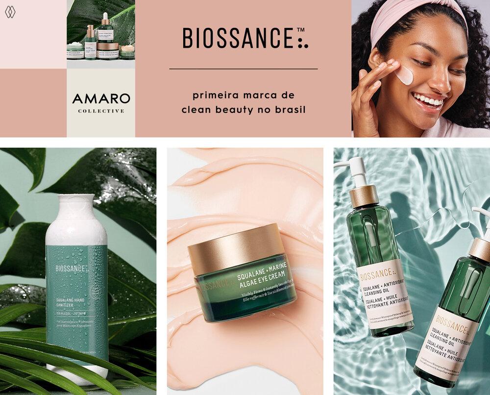 PRODUTOS:  Biossance gel antisséptico hidratante para mãos com esqualano,   Biossance creme para olhos com algas marinhas e esqualano ,  Biossance óleo de limpeza antioxidante com esqualano.