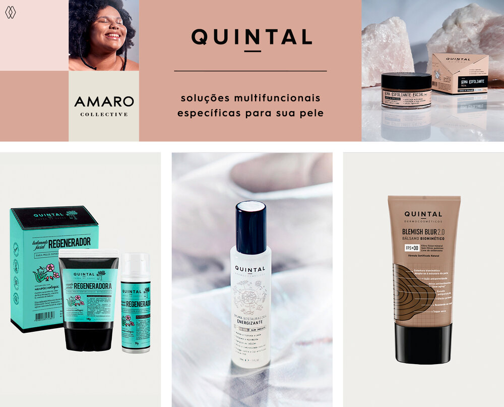 PRODUTOS:  Quintal kit regenerador,   Quintal brumas restauradora energizante,   Quintal blemish blur bals biomimético.
