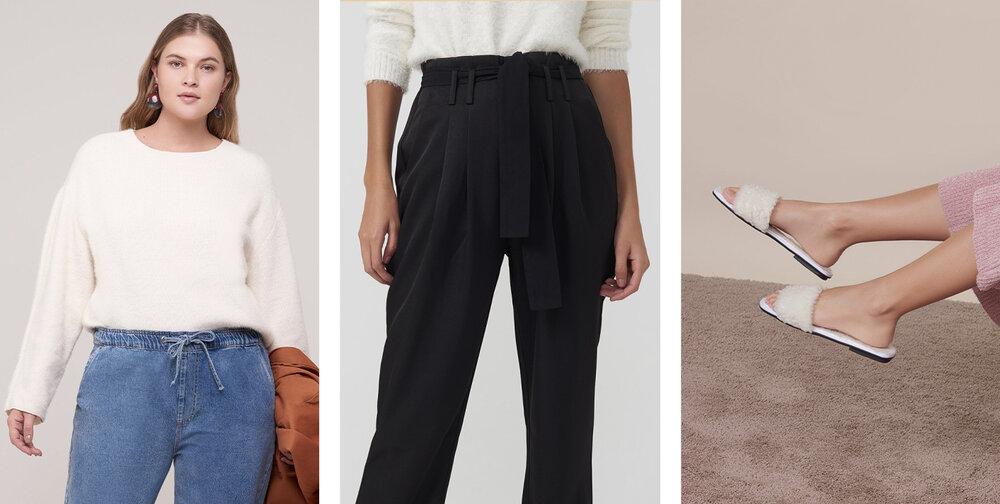 PRODUTOS:  Suéter teddy basic ,  Calça slim pregas tecido ,  Slider flat pantufa