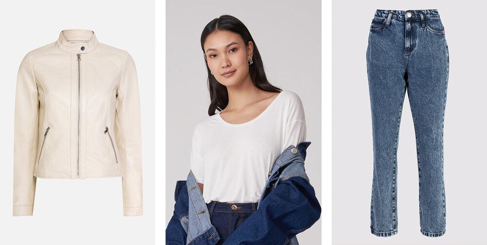PRODUTOS:  Jaqueta couro pelica ,  Blusa básica U ,  Calça jeans slim passantes deslocados.