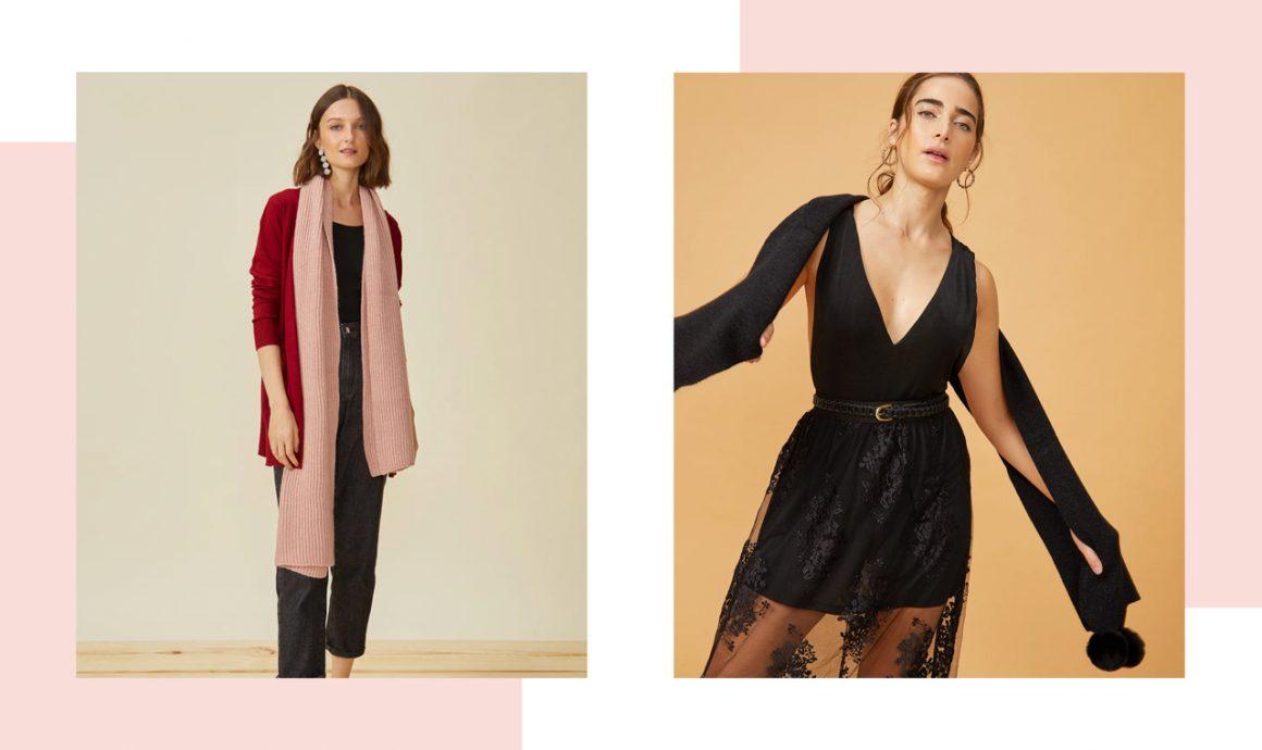 Primeira modelo vestindo lenço rosa e segunda modelo vestindo lenço preto
