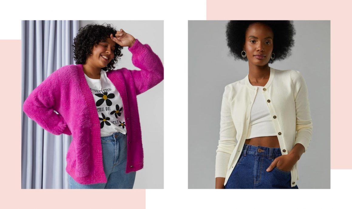 Primeira modelo vestindo cardigan peludo rosa e segunda modelo vestindo cardigan branco