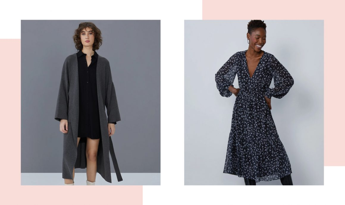 Primeira modelo vestindo cardigan sobretudo cinza e segunda modelo vestindo vestido midi florido