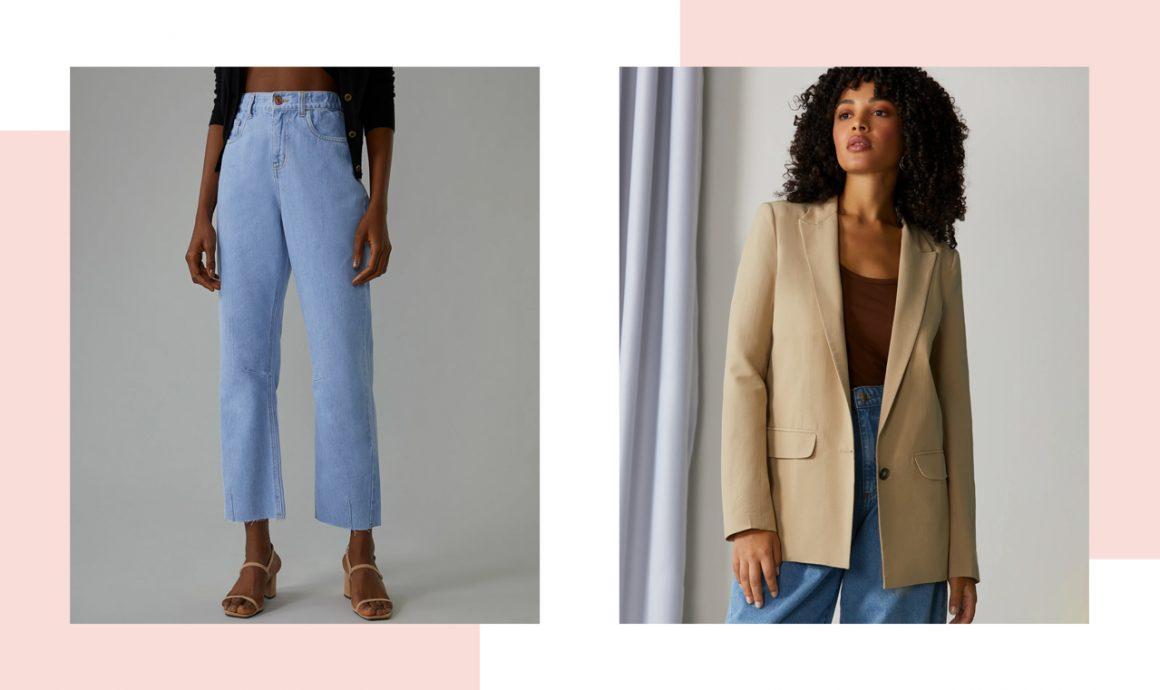Calça jeans e modelo vestindo blazer bege