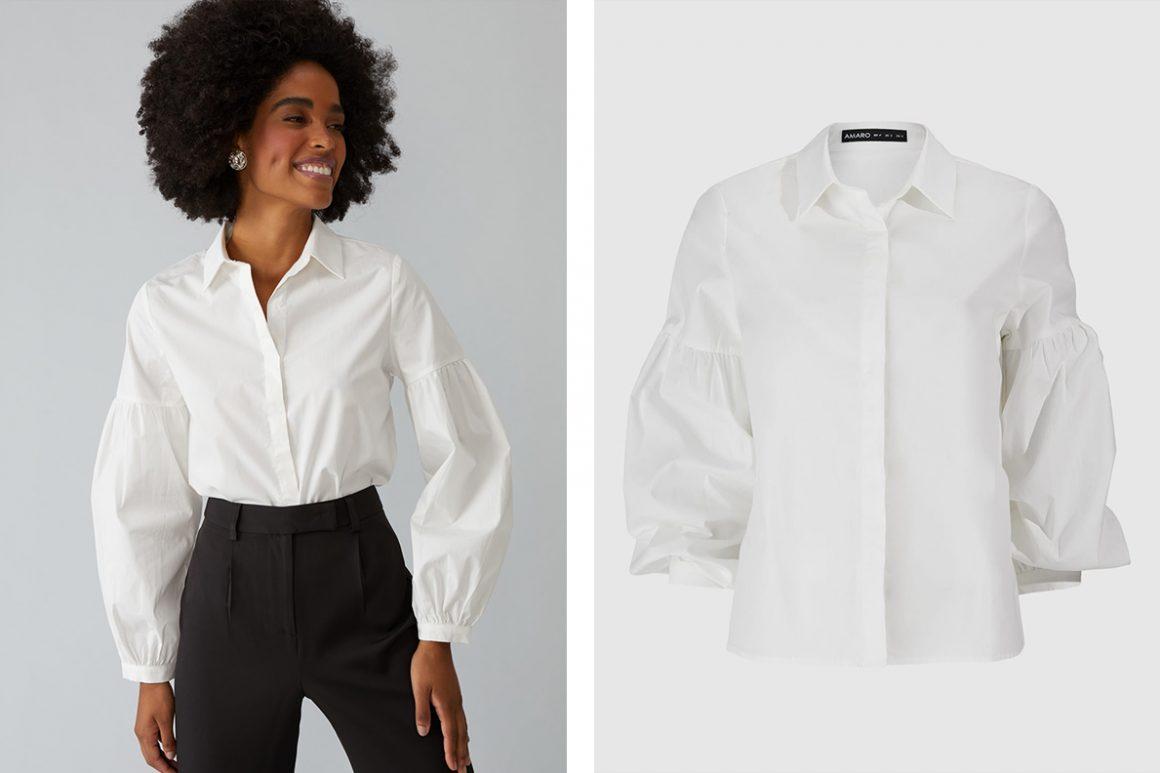 Modelo vestindo camisa branca com manga bufante