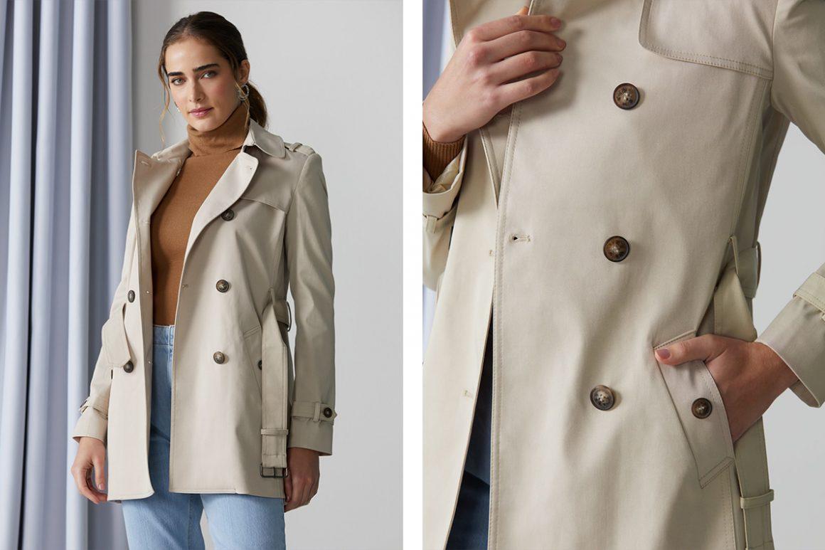 Modelo vestindo casaco trench coat bege