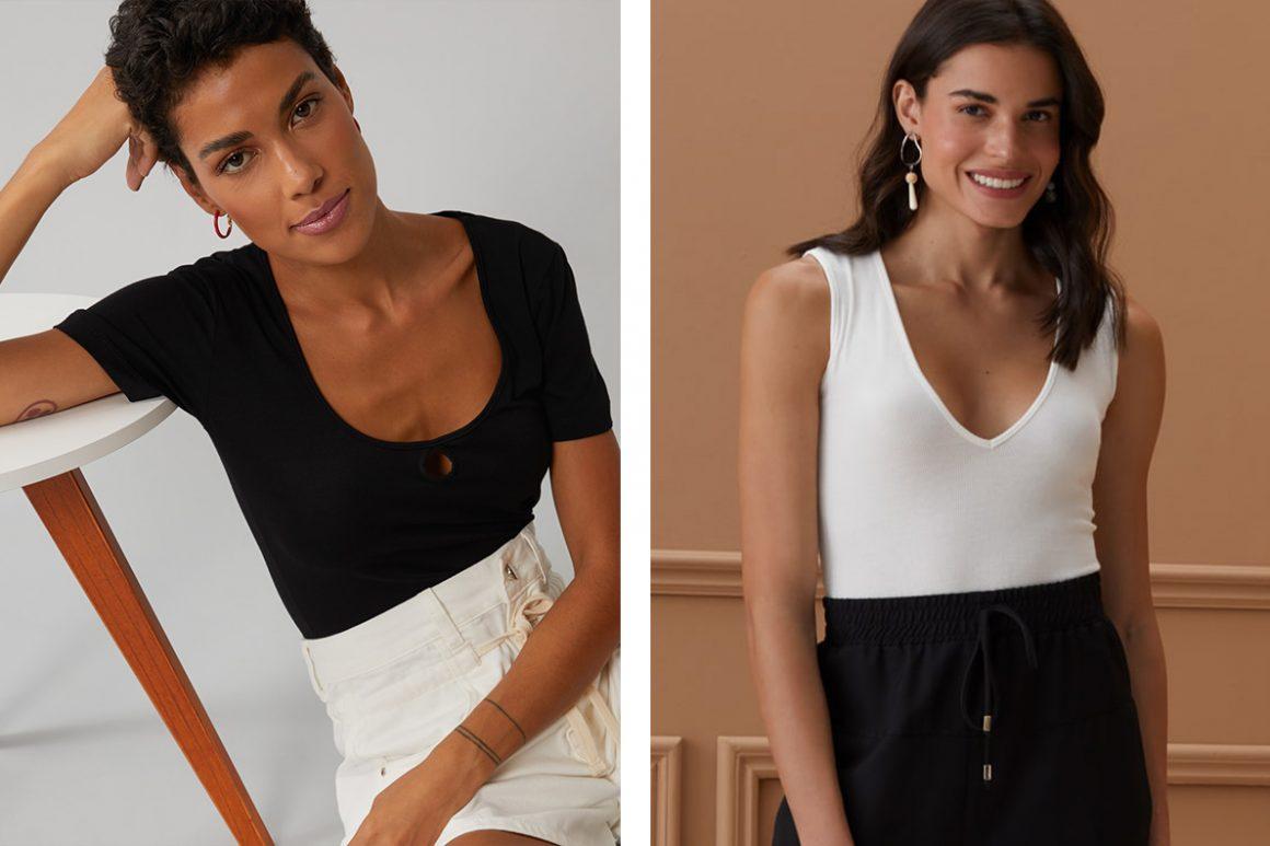 Primeira modelo vestindo blusa preta gola U e segunda modelo vestindo blusa branca gola V