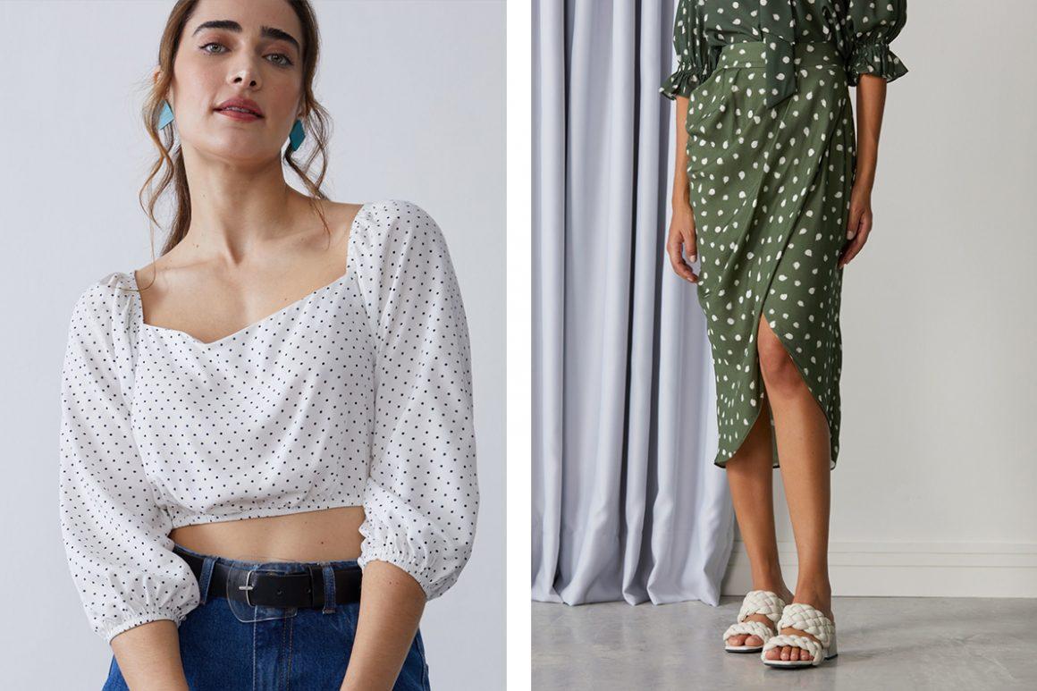 Primeira modelo vestindo blusa estampada de poá e segunda modelo vestindo saia midi com fenda poá
