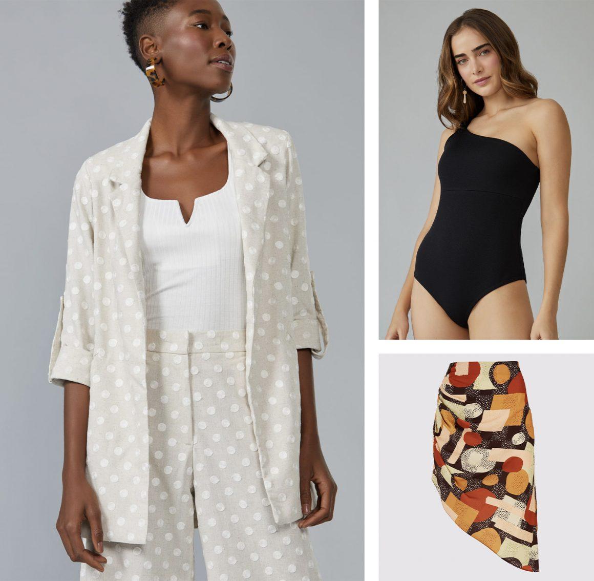 Primeira modelo vestindo blazer viscose poá, segunda modelo vestindo body de malha uma alça e saia midi estampada