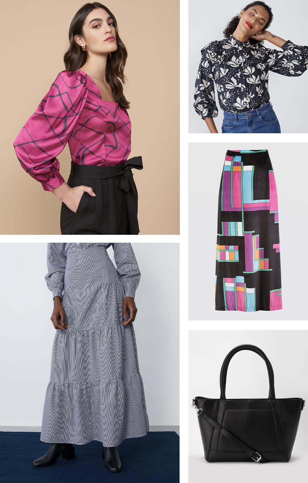 Primeira modelo vestindo blusa manga bufante estampada, segunda modelo vestindo camisa florida, saia estampa geométrica e bolsa tote preta