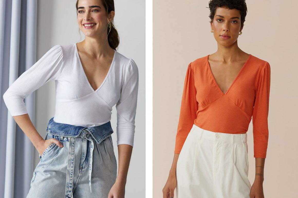 Primeira modelo vestindo blusa manga média branca e segunda modelo vestindo blusa manga média laranja