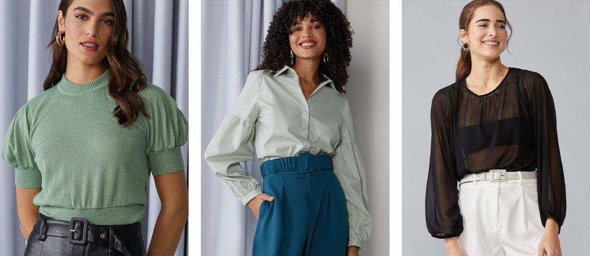 Primeira modelo vestindo blusa tricot manga curta bufante, segunda modelo vestindo camisa manga longa bufante e terceira modelo vestindo blusa cropped manga longa bufante