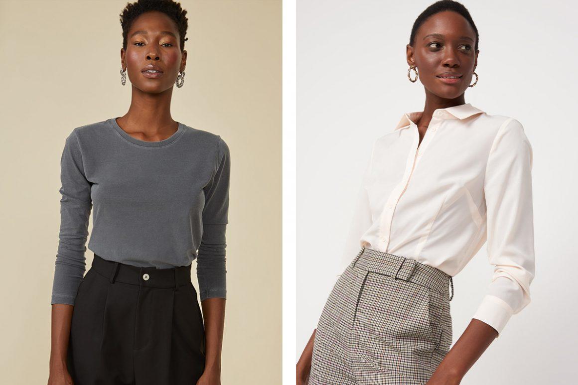 Primeira modelo vestindo blusa manga longa estonada e segunda modelo vestindo camisa de crepe com corte tradicional