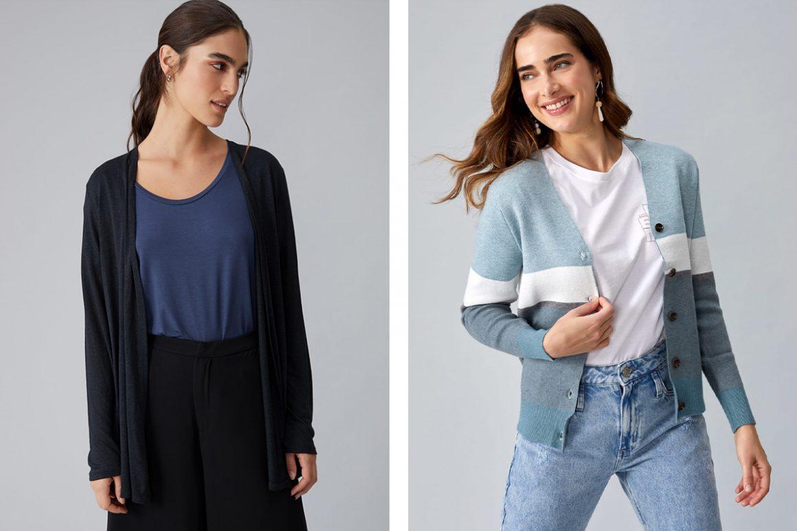 Primeira modelo vestindo cardigan de viscolinho alongado e segunda modelo vestindo cardigan com botões
