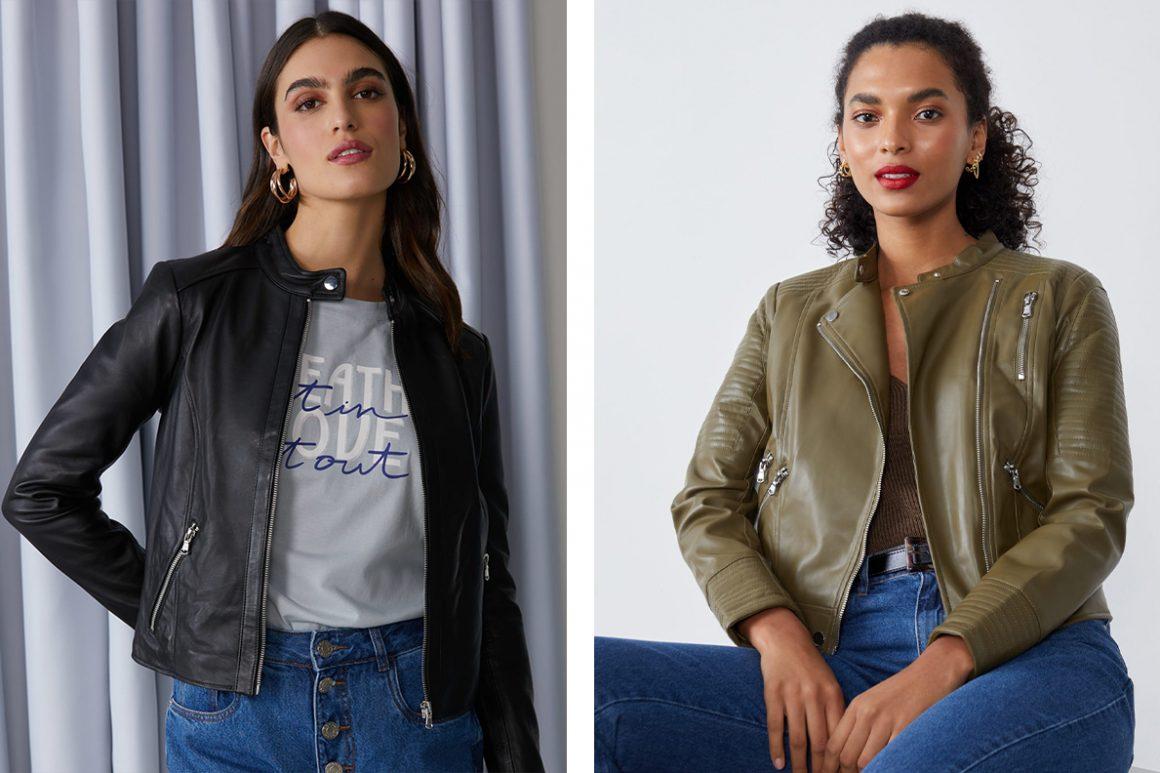 Primeira modelo vestindo jaqueta de couro preta e segunda modelo vestindo jaqueta de couro verde