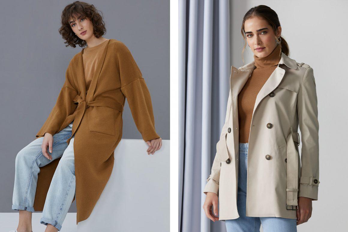 Primeira modelo vestindo sobretudo oversized e segunda modelo vestindo trench coat