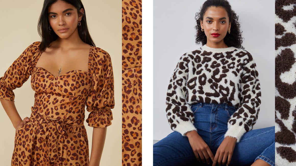 Blusa manga bufante de oncinha e suéter de tricot onça