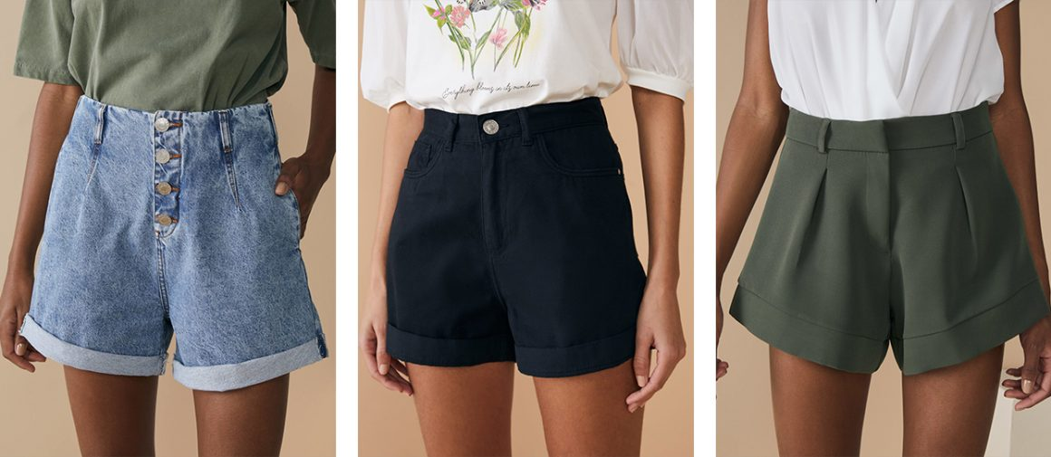 Shorts jeans de cintura alta e shorts de alfaiataria de cintura alta