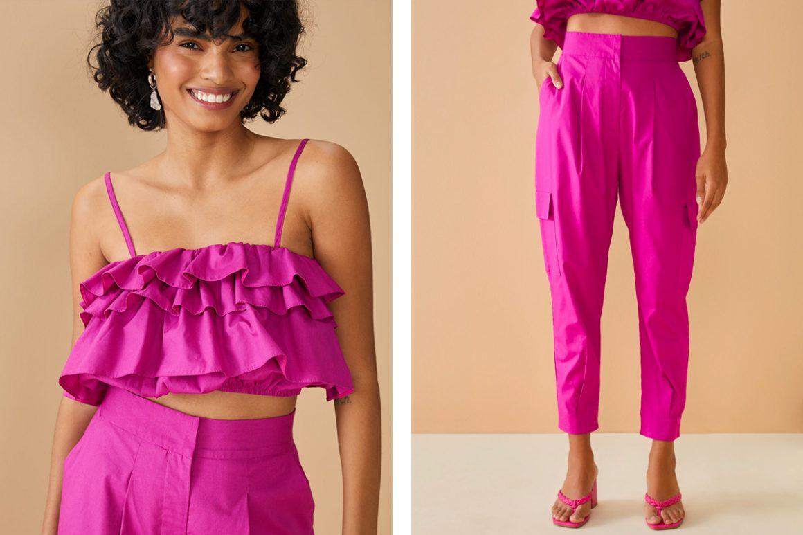 Look colorido monocromático rosa