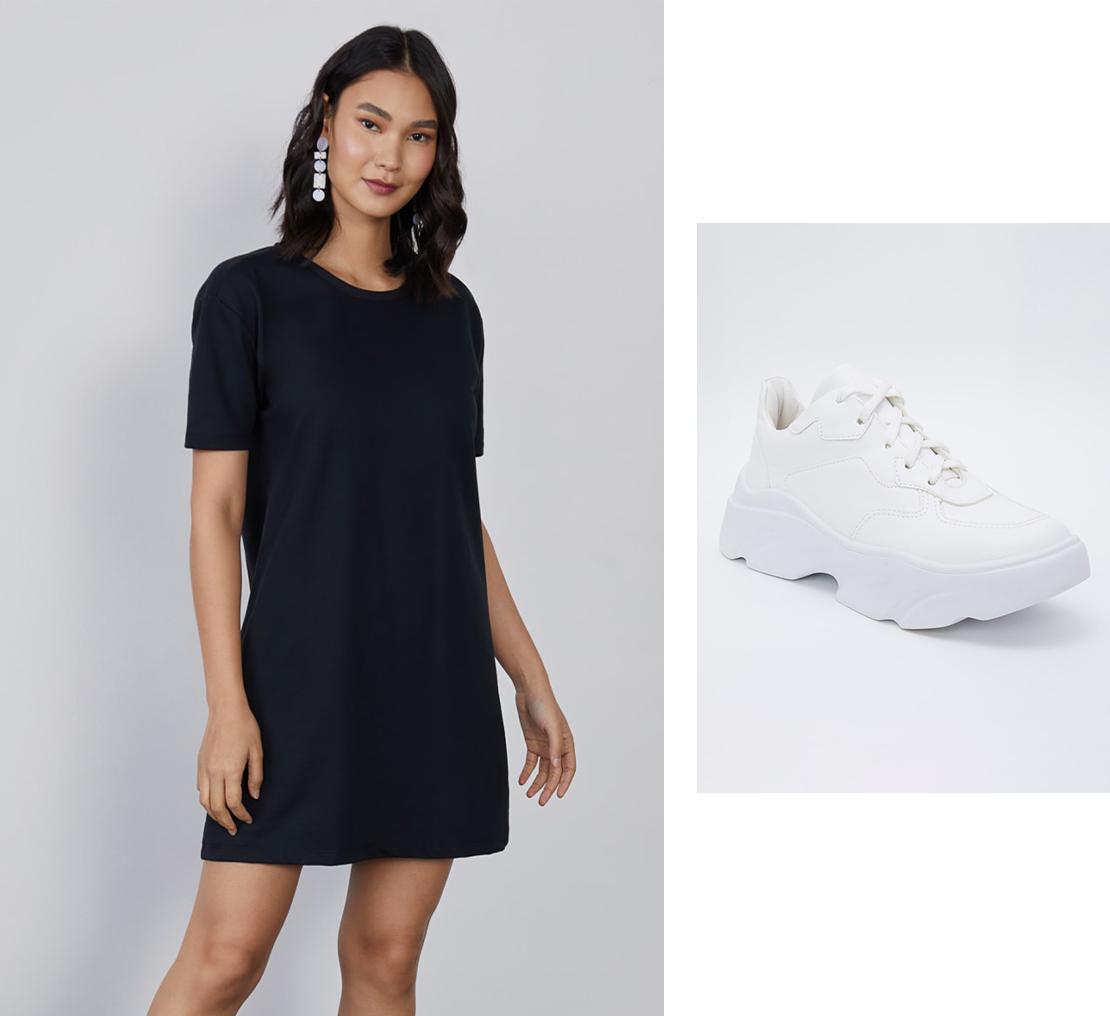 Vestido com Tênis Esportivo Branco