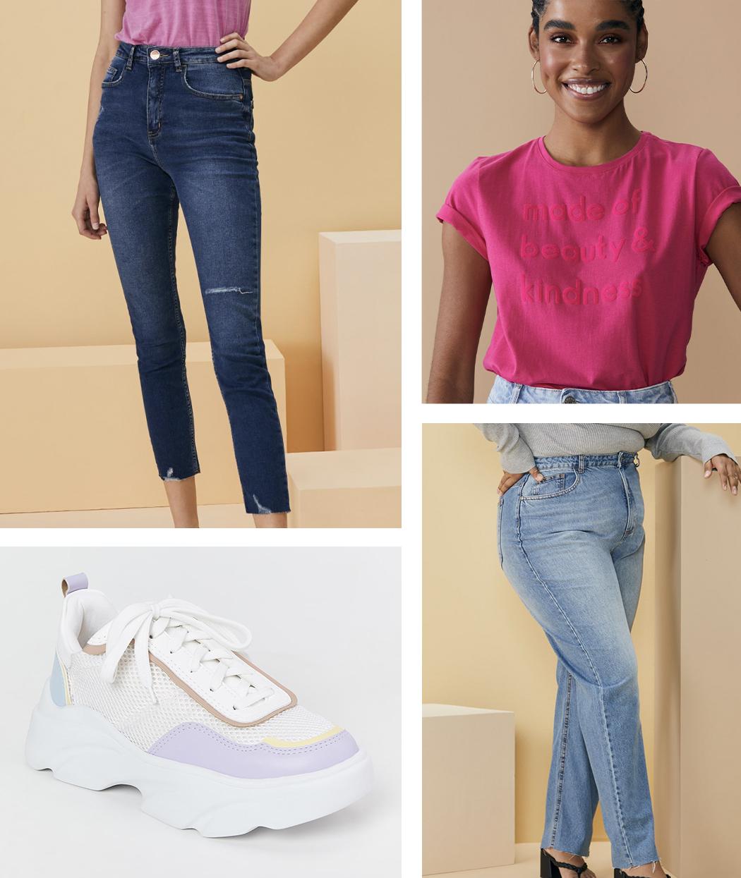 Calça jeans com Tênis Esportivo