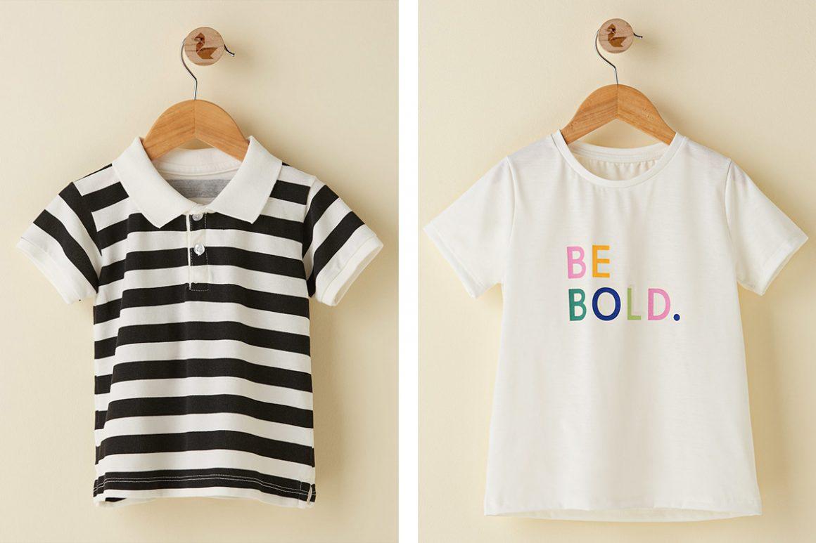 camisa polo infantil e camiseta básica para crianças