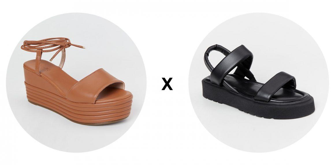 Sandália plataforma e sandália flatform