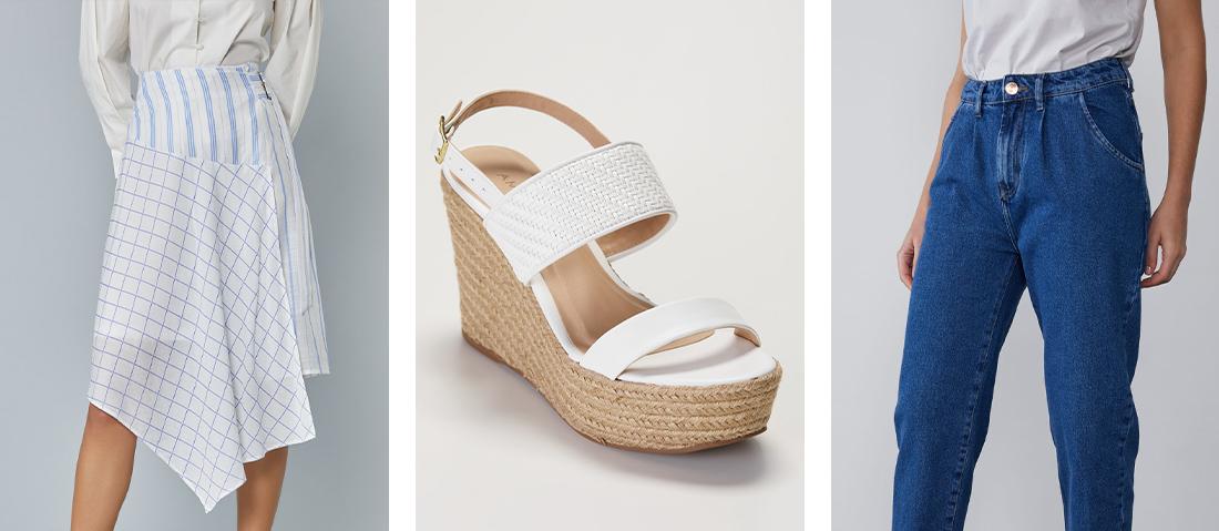 Look com sandália plataforma de corda