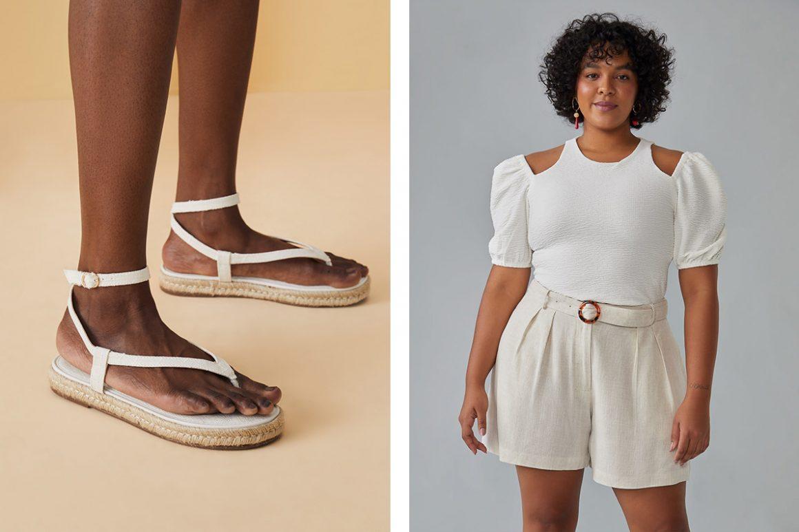 Look com sandália flatform de corda
