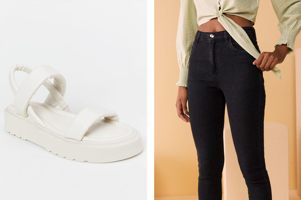 Look com sandália flatform branca