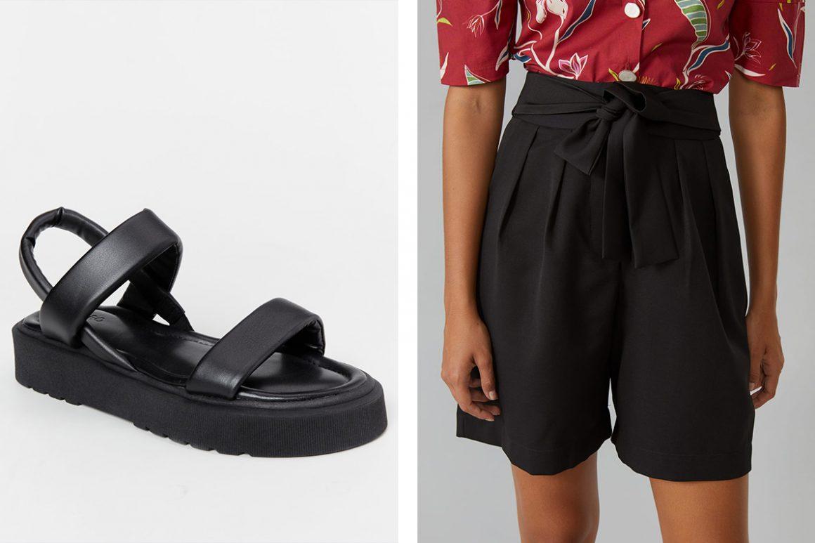Look com sandália flatform preta