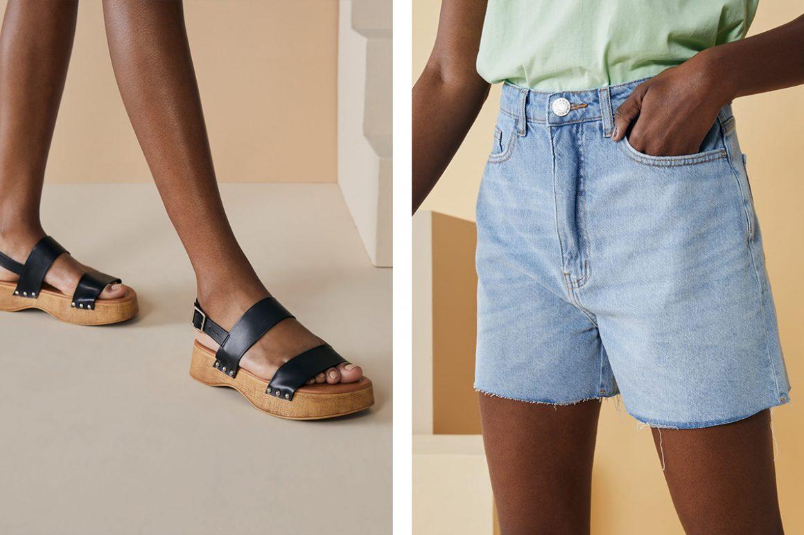 Look com sandália clog preta