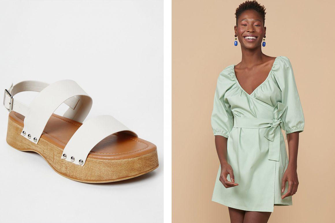 Look com sandália clog branca